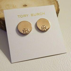 Tory Burch disk rose gold earrings